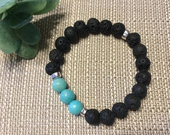 Lava Bracelet with Turquoise beads