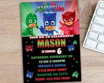 ON SALE 30% PJ Mask Invitations - Pj Mask Party Invitations -  Pj Mask Birthday - PjMask Invitation