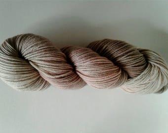 Sea Shell, hand dyed, sport weight, super wash merino wool