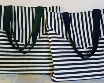 Ludia Lee's Black & White Stripe Large Shoulder Bag