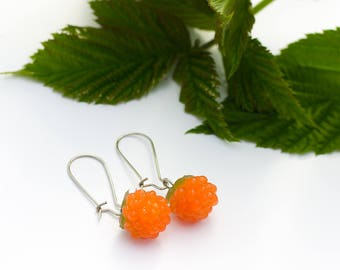 Raspberry earrings bright jewelry gift for women silicone cloudberry earrings woodland style  orange  berry fruit food jewelry