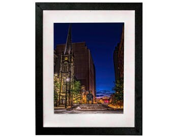 "8.5"" x 11"" Print of Public Square in Downtown Cleveland Ohio at night. FREE SHIPPING!!!"