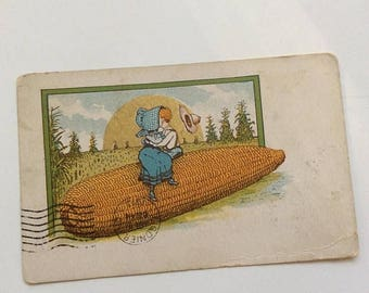 On Sale Kissing on the Corn, Antique Postcard, Postally Used and Written on, 1913, Risqué