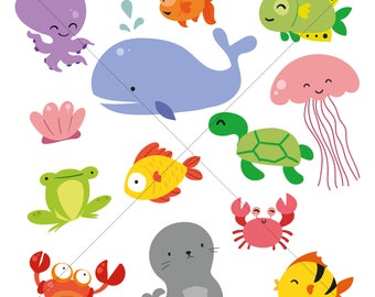 whale turtle fish frog seal lobster crab clam octopus ocean animals - Sea Life Digital Clipart