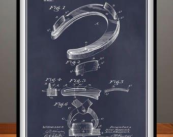 1898 Horseshoe Patent Print, Horse Lover Gift, Equestrian Gift, Lucky Horseshoe, Equine Art, Cowboy Gift, Blacksmith Gift, Farrier Gift