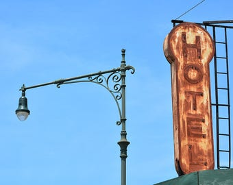 New York City Vintage Architecture, Hotel Signage, Lamp Posts