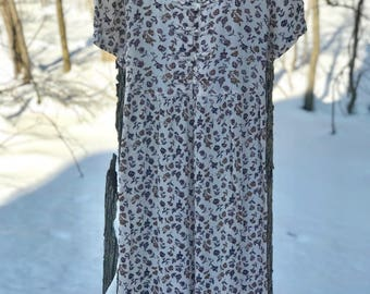 long short sleeve floral maxi dress