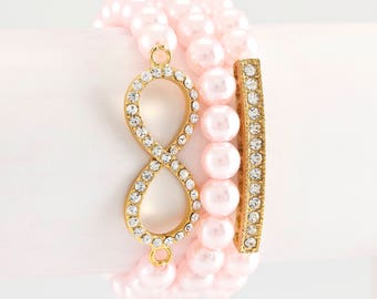Pink, pearl effect,Infinity, 3 stack Glam bracelet