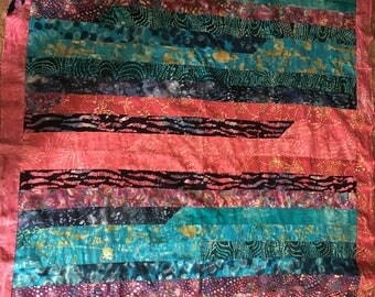 Hot pink/Turquoise/Purple Jelly Roll Quilt Top (Indian cotton)