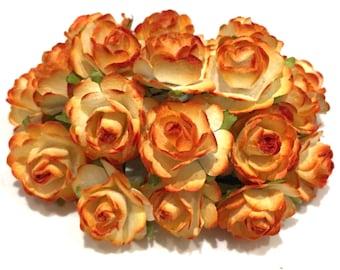 Two Tone Sunset Orange Open Mulberry Paper Roses Or064
