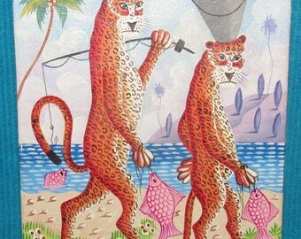 Colorful Whimsical Joel Gauthier (Listed Haitian Artist) Original Painting, Fishing Leopards