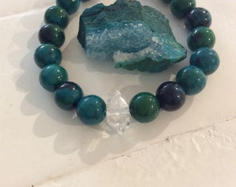 Communication, Divine Feminine Energy, Manifest Pure Light Chrysocolla & Herkimer Diamond bracelet