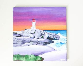 Peggy's Cove, Nova Scotia Acrylic Painting