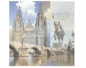"""Prague Set of 4 Custom Selected 12"""" x 12"""" Scrapbook Papers Europe Themed Travel Vacation Papers - Our Favorites"""