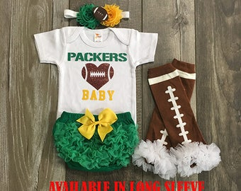 baby girl green bay packers football - green bay packers baby - green bay packers baby girl outfit - football leg warmers - packers baby