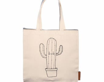 Cactus 100% cotton, 12oz natural canvas tote bag. Ideal for a market bag, handbag, beach bag, shopping bag, grocery bag, library bag