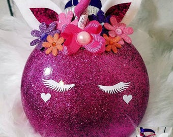 Large 4inX4in personalized unicorn ornament