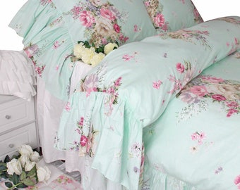 Shabby Chic Ruffled Duvet Cover Bedding Sets Queen King Twin Full Cotton