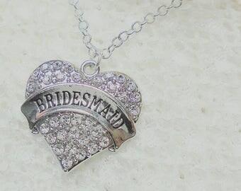Bridesmaid necklace, bridesmaid gift, bridesmaid pendant.