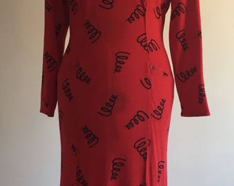 Gorgeous fitted red, mid length dress