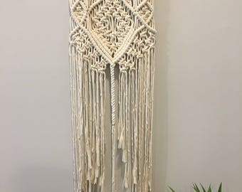 Cream Macrame Wall Hanging on 18.5ft Driftwood