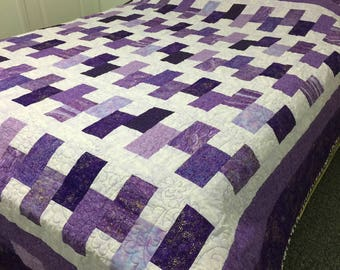 Purple Shimmer of Gold king size quilt