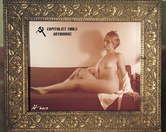 "ORIGINAL ART PHOTO:  Nude young woman seated on couch, 8"" x 10"", sepia, in antique gold-painted wood frame"