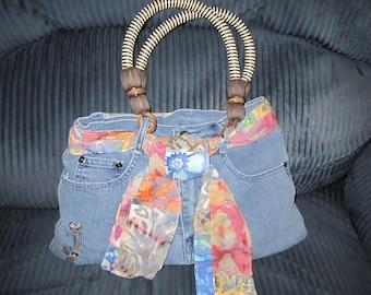 Vintage blue jeans purse