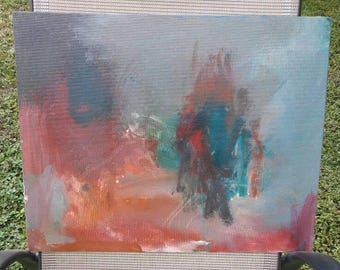 Abstract painting on Canvas panel. Acrylic painting. Home decor. - 11x14