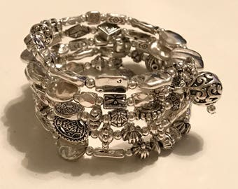 Silver beaded memory wire cuff bracelet