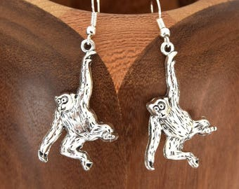 Earrings silver apes, apes silver plated clip on earrings
