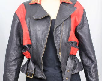 Upcycled red and black studded leather biker jacket 22-24UK