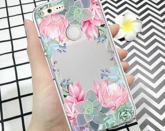 SUCCULENT case, Pixel case, google pixel xl case, floral case, silicone pixel case, clear picel xl case, cactus case, floral pixel case