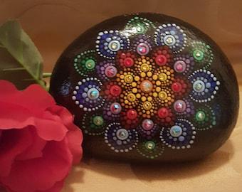 Colorful mandala stone,with swarovski crystals