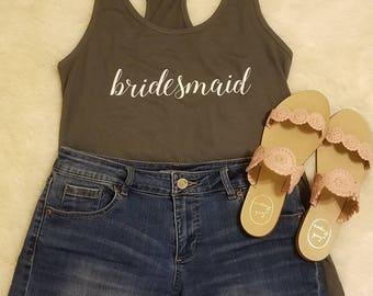 Bridesmaid Tank with Monogrammed Back - bridal party,  bachelorette, monogrammed bridesmaid gift
