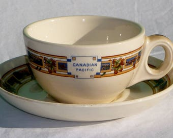 vintage canadian pacific railway dining car teacup and saucer