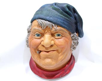Vintage Legend Products FISHERMAN Head, Bossons-Like Wall Ornament, 3D Chalkware Bust, Made in England