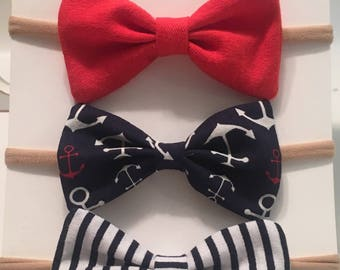 SALE- Nautical bow set in headband or clip