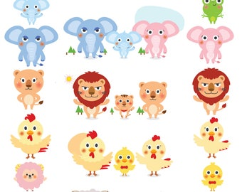Animal Family svg png dxf eps Animal Clipart animal print Frog svg Elephant svg Lion svg Chicken svg Sheep svg Silhouette Cameo Cricut cut