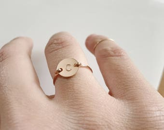 Rose Gold Ring. Initial Ring. Personalized Rose Gold Ring.