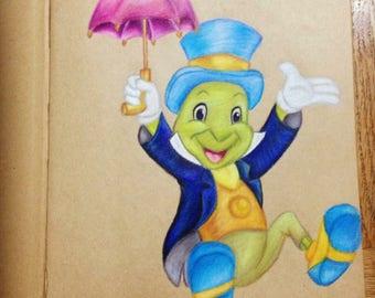A4 Jiminy Cricket Drawing