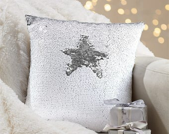White/ Silver Sequin Pillow