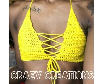 Front tie crochet crop top