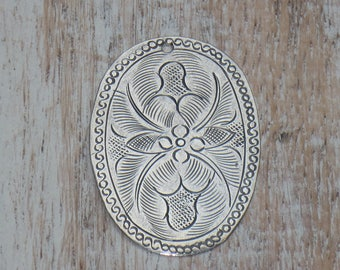 Thailand Hill Tribe Silver Vintage Oval Flower Stamped Charm, Necklace Component, Tribe Hill Charm