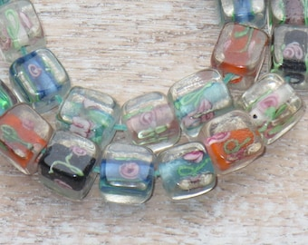 Lampwork Glass Square with Flowers Beads Multi Color 15pcs 8mm