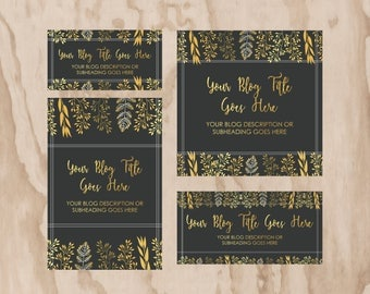 Grey and gold leaves social media template, blog template, facebook, twitter, pinterest, instagram.