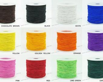 0.8MM Nylon Coated Round Elastic Cord Stretch Beading Mala String 75yards Spool - Choose Color!
