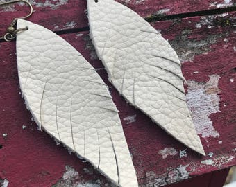 White Leather Feather Earrings