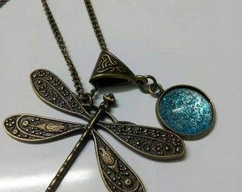 Bronze necklace, dragonfly and blue glitter cabochon