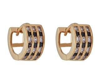Thick Huggie Earring with 3 Rows of Small Soft Colored Stones